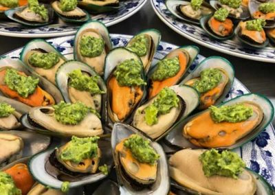 mussel canapes catering party