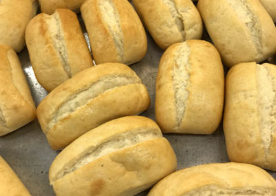 fresh bread rolls with catering